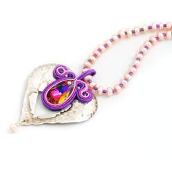 srebro otulone sutaszem,Swarovskim i perłami - Naszyjniki - Biżuteria