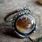 Pierścionki agat,pierścień,surowy,regulowany,dendrytowy