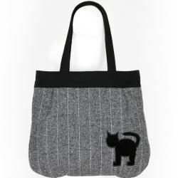 kocia torba,kot,z szarej wełny,szary melanż - Na ramię - Torebki