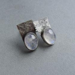 delikatne,surowe,kamień księżycowy,drobne, - Kolczyki - Biżuteria