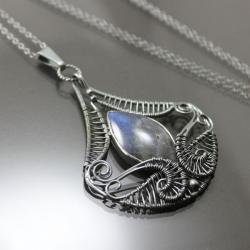 baśniowy wisior,labradoryt,srebro - Wisiory - Biżuteria