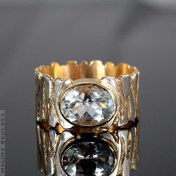 pierścionek,zebra,złocony,zrebrny,akwamaryn - Pierścionki - Biżuteria
