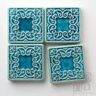 Ceramika i szkło dekory,kafle,ceramiczne,ornamentowe,turkusowe