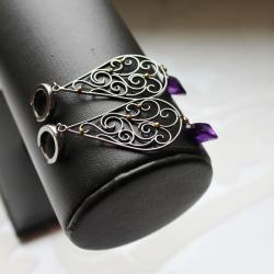 srebro oksydowane,srebro złocone,ametyst - Kolczyki - Biżuteria