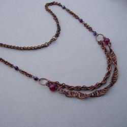 naszyjnik,miedź,chainmaille,oksydowany,agat - Naszyjniki - Biżuteria