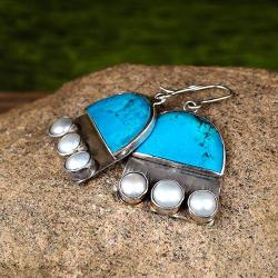 Kolczyki z turkusem i perłami - Kolczyki - Biżuteria