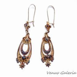 Kolczyki,srebrne,bigle,brąz,retro,vintage - Kolczyki - Biżuteria