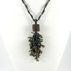 etniczny,koralikowy,długi,gałązki - Wisiory - Biżuteria