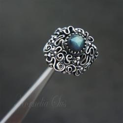 srebrny,pierścionek,szeroki,z labradorytem - Pierścionki - Biżuteria