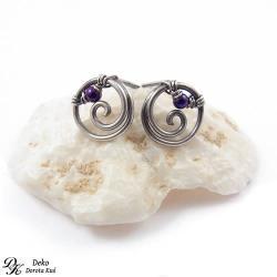 kolczyki,sztyfty,spiralki,srebro,hematyt,niebieski - Kolczyki - Biżuteria