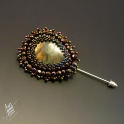 haft koralikowy,broszka,labradoryt,elegancka - Broszki - Biżuteria