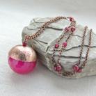 Naszyjniki długi naszyjnik,jadeit,różowy,miedziany