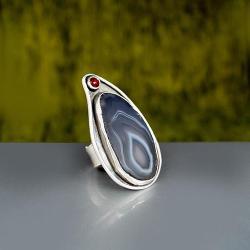 duży pierścionek z agatem - Pierścionki - Biżuteria