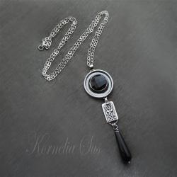 wisior,srebrny,długi,z onyksem - Wisiory - Biżuteria