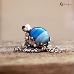 srebro,agat,zbroja - Naszyjniki - Biżuteria