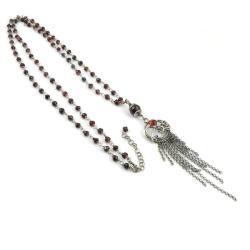 naszyjnik,długi,wrapping,granat, - Naszyjniki - Biżuteria