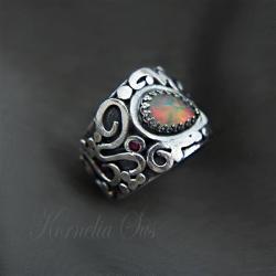 srebrny pierścionek z opalem,szeroki,opal - Pierścionki - Biżuteria