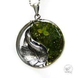 yin yang,srebrny liść,długi,oksydowany,żywica - Naszyjniki - Biżuteria