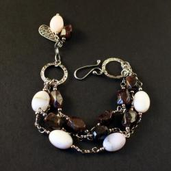 srebrna bransoletka z granatem i opalem - Bransoletki - Biżuteria