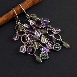 srebrne kolczyki z ametystem - Kolczyki - Biżuteria