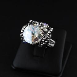 crystal moonlight,swarovski,srebro,zapleciony - Pierścionki - Biżuteria