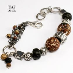 bransoleta,biżuteria damska,surowy agat - Bransoletki - Biżuteria