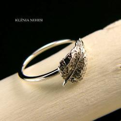 Nehesi,Pierścień,z liściem,ze srebra, - Pierścionki - Biżuteria