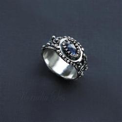 pierścionek,srebrny,z szafirem,misterny - Pierścionki - Biżuteria