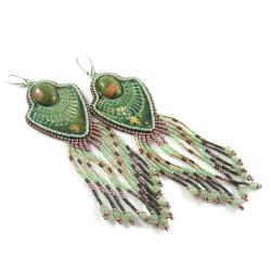kolczyki koralikowe,długie frędzle,etno - Kolczyki - Biżuteria