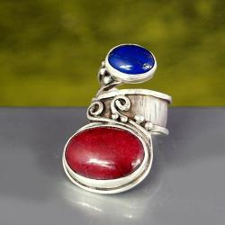 srebrny pierścionek z rubinem i lapisem - Pierścionki - Biżuteria
