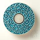 Ceramika i szkło ceramiczny lampion,ornamentowy,turkusowy