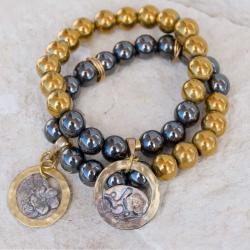 bransoletki,na gumce,złoty hematyt, - Bransoletki - Biżuteria