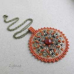 wisior,haft koralikowy,oryginalny,okrągły - Wisiory - Biżuteria