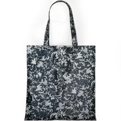 kwiaty,czarna siatka,shopper,na zakupy - Na zakupy - Torebki